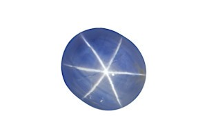a single blue star sapphire on a white background