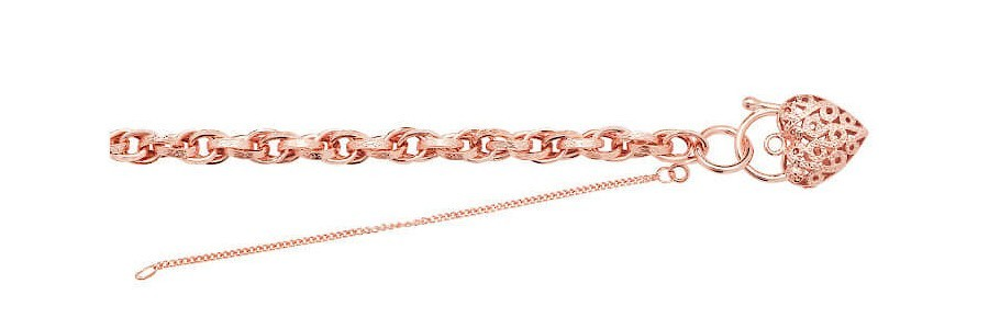 a rose gold bracelet and charm on a white background