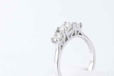 a triple diamond white gold engagement ring