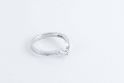 a white gold and diamond shaped wedding ring