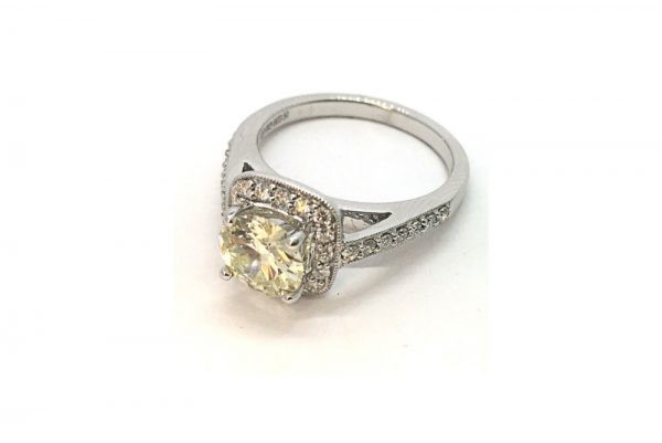 cushion shaped diamond ring 2