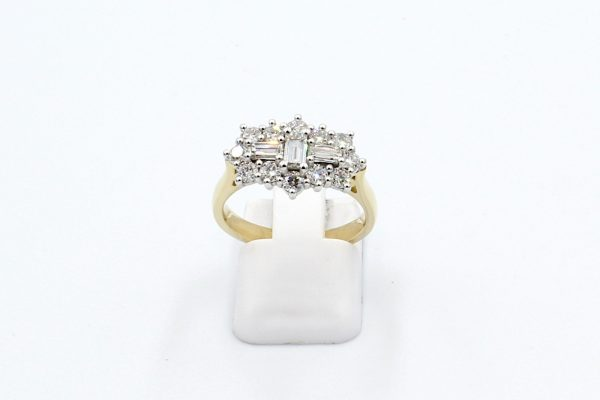 diamond cluster engagement ring front