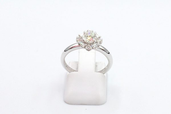 diamond cluster white gold ring front