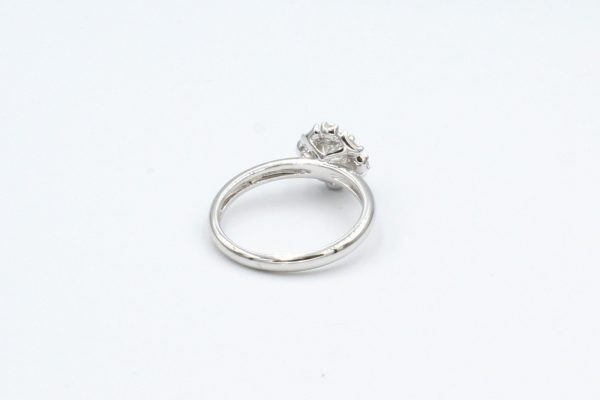 diamond cluster white gold ring rear