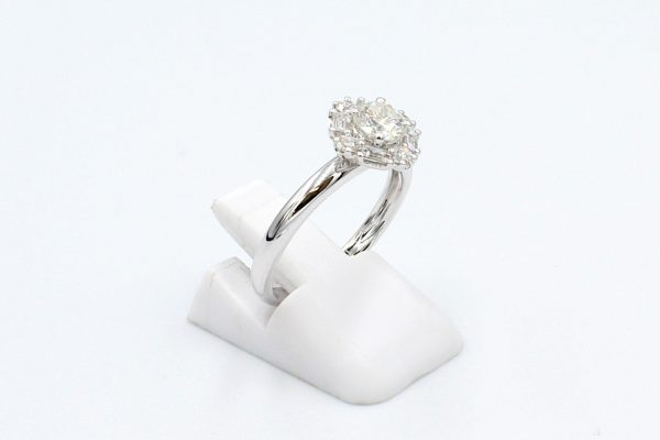 diamond cluster white gold ring side