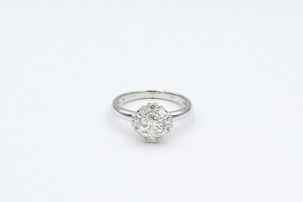 diamond cluster white gold ring top