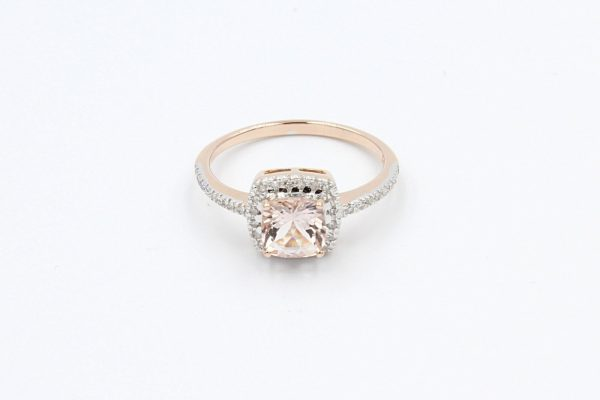 diamond cushion morganite ring 1