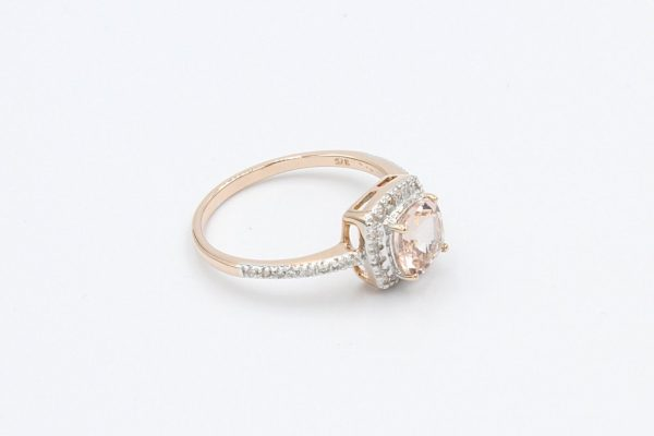 diamond cushion morganite ring 2