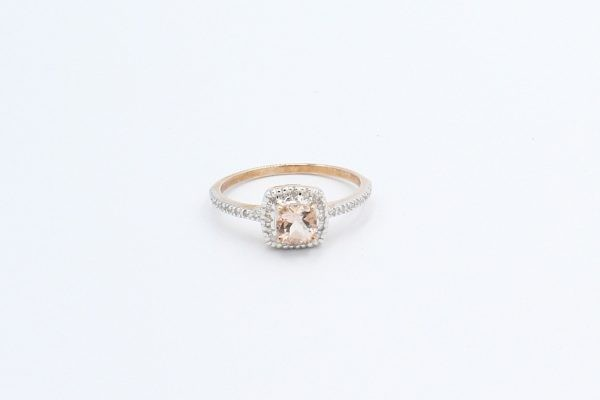 diamond morganite halo engagement ring 3