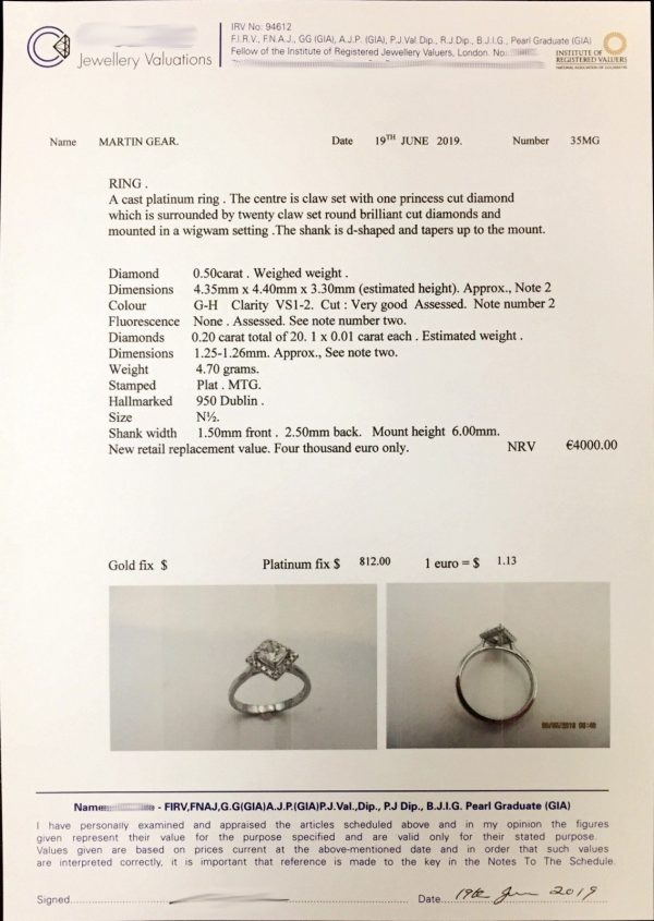 engagement ring certificate