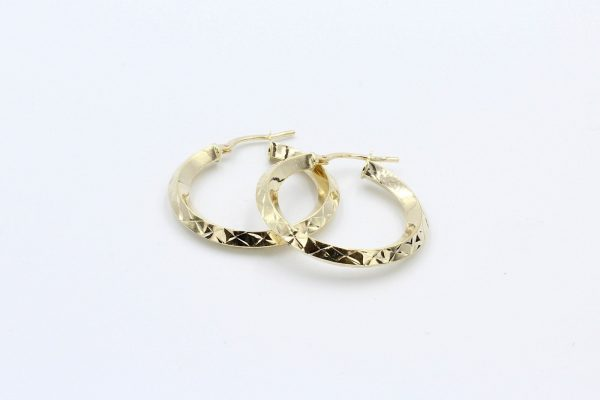 gold diamond cut hoop earrings