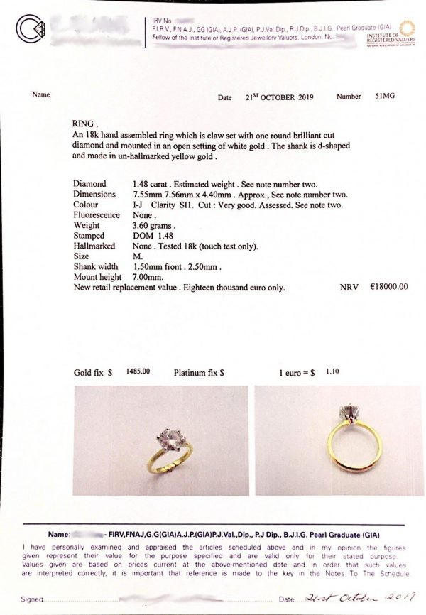 gold solitaire diamond engagement ring certificate