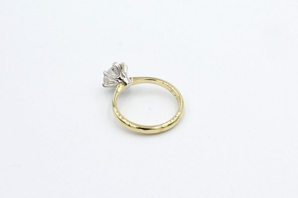 gold solitaire diamond engagement ring rear