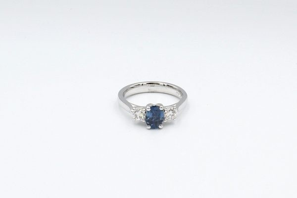 multi diamond sapphire ring top
