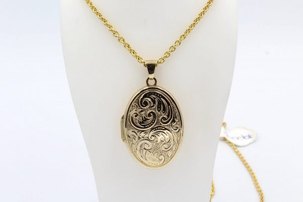 oval gold locket chain