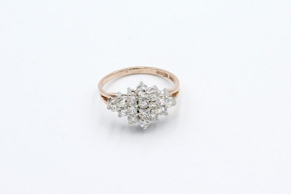 rose gold diamond cluster ring top 1