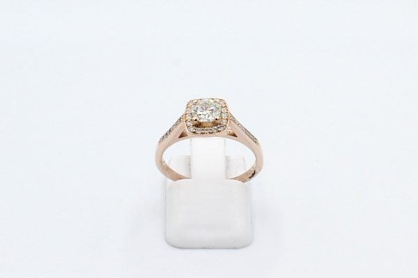 rose gold halo engagement ring front