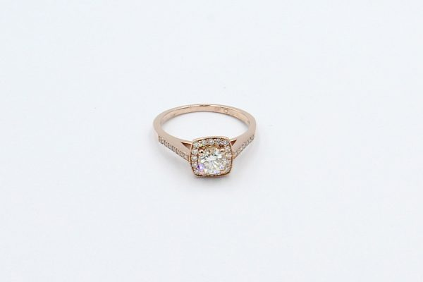 rose gold halo engagement ring top