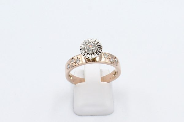 rose gold illusion engagement ring front
