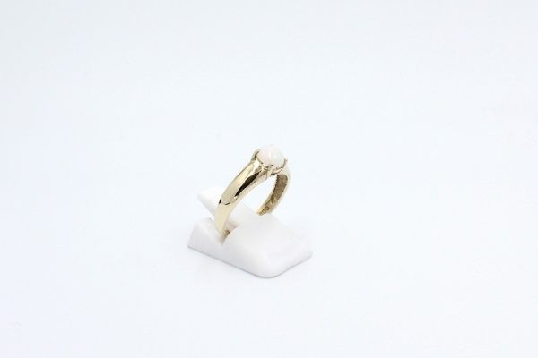 round opal ring gold side