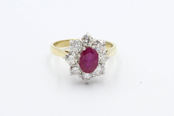 ruby diamond cluster ring 1