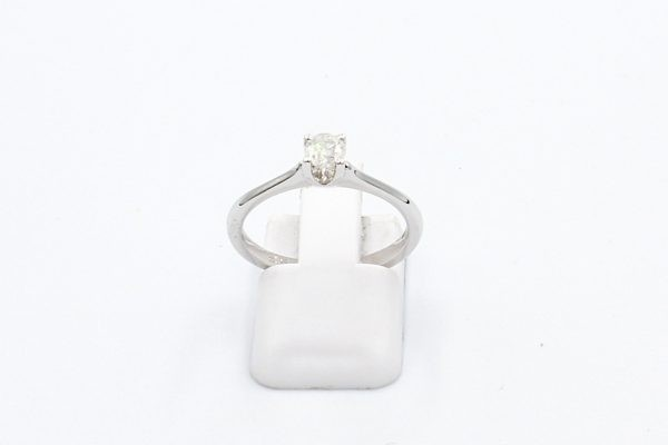 solitaire diamond ring white gold front
