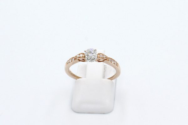 solitaire diamond rose gold ring front