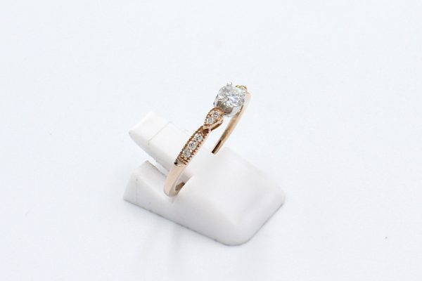 solitaire diamond rose gold ring side