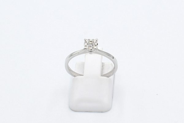 white gold cluster diamond ring front