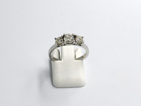 front view of a white gold multi-diamond engagement ring
