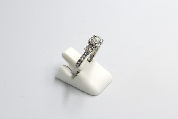 side view of a multi-diamond platinum engagement ring