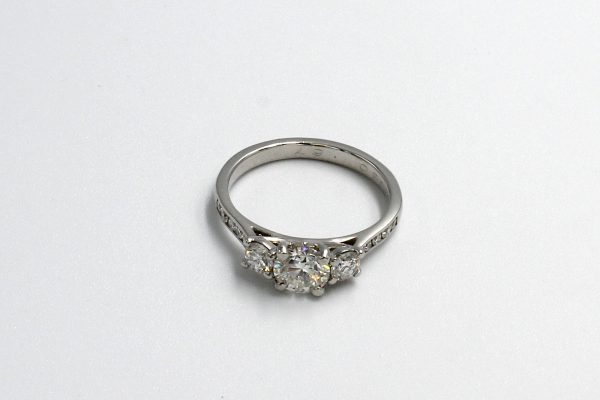top view of a multi-diamond platinum engagement ring