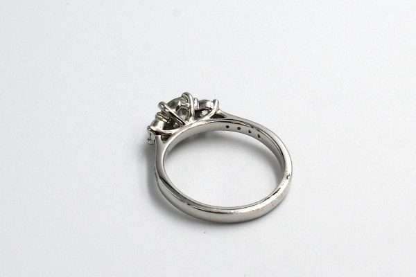 rear view of a multi-diamond platinum engagement ring