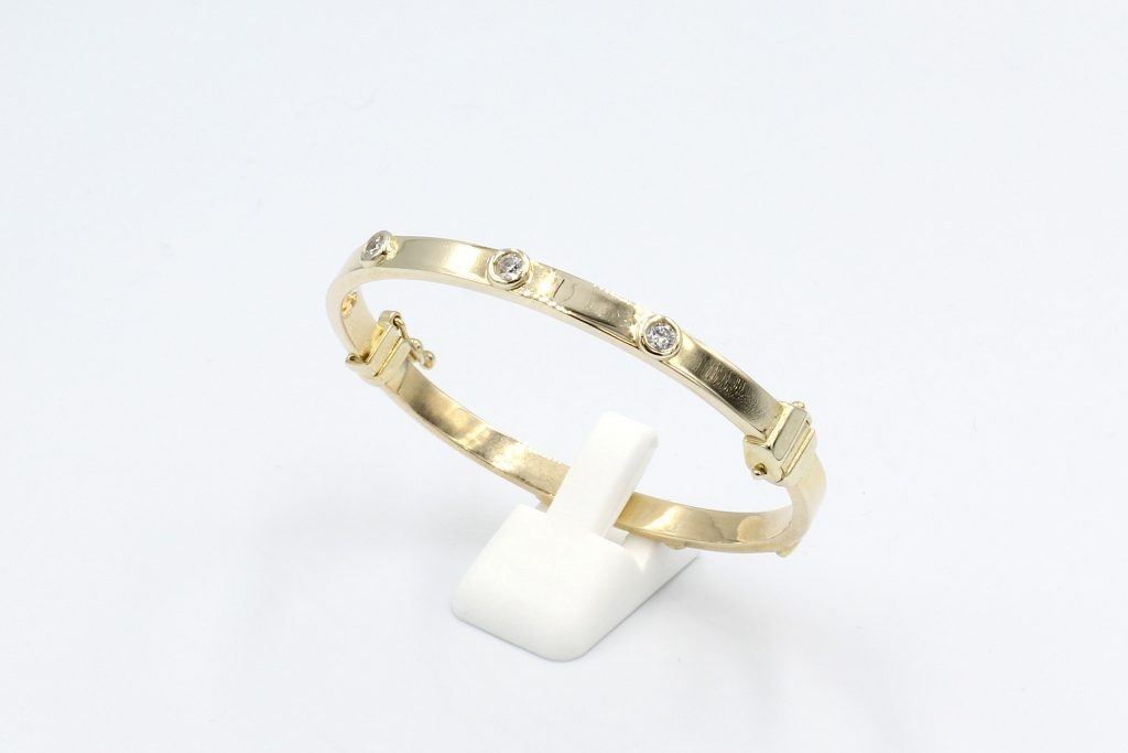 gold and cubic zirconia baby bangle
