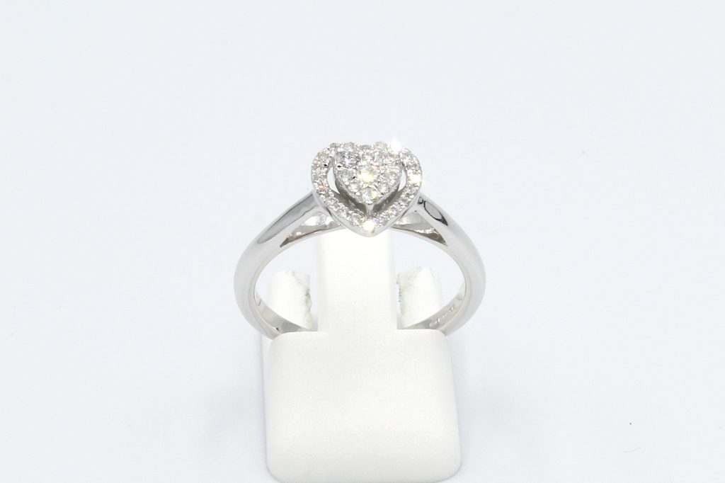 white gold heart shaped halo engagement ring - front