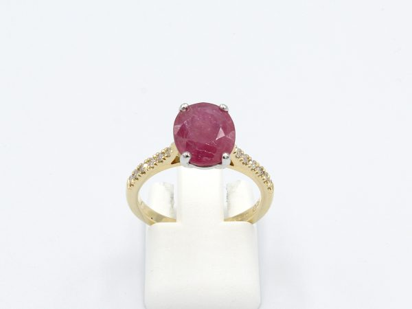 front view red ruby and diamond ring