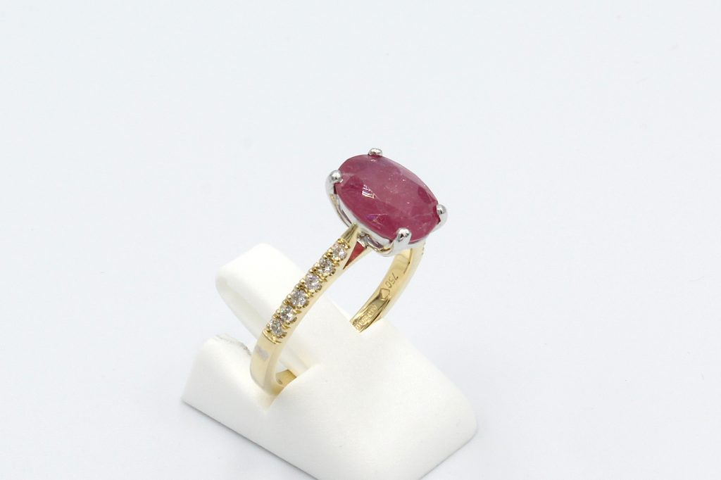 side view red ruby and diamond ring