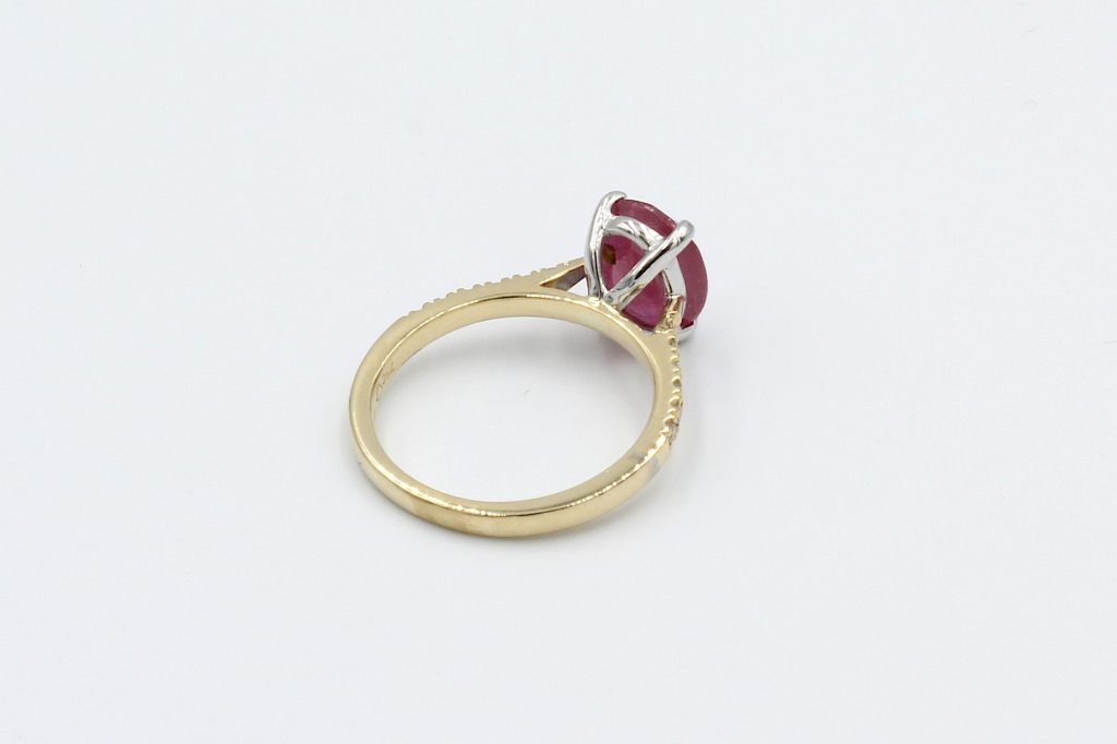 rear view red ruby and diamond ring