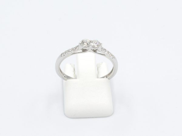front view white gold double-diamond ring on white background
