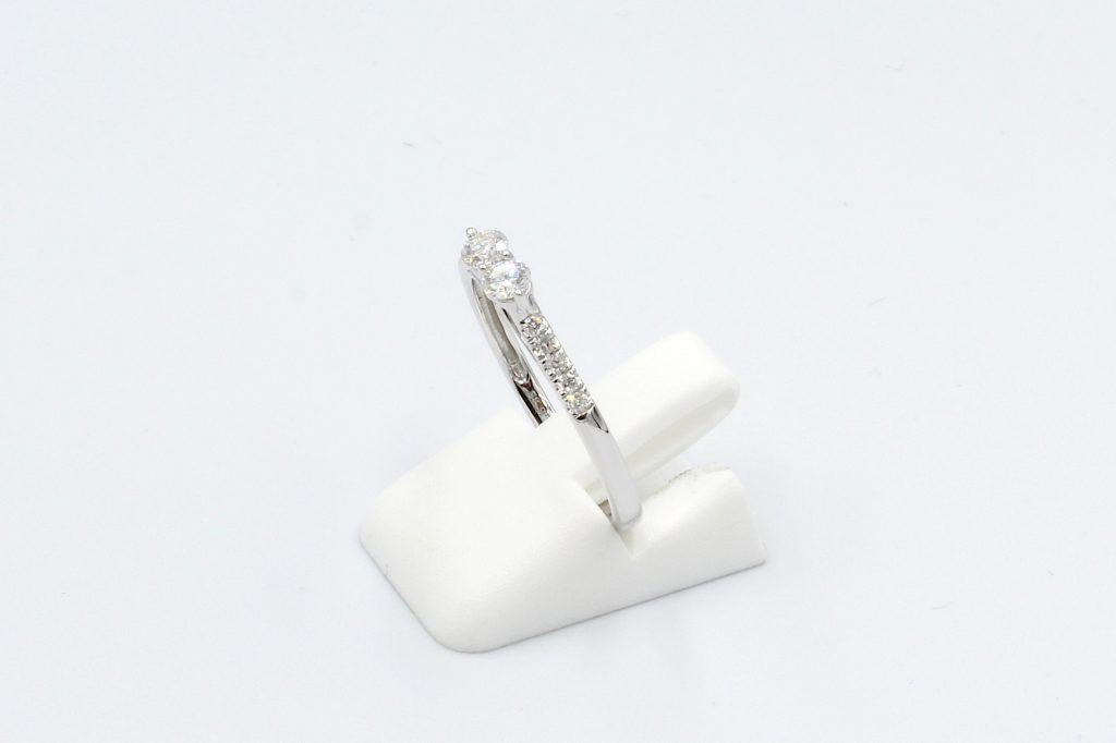 side view white gold double-diamond ring on white background