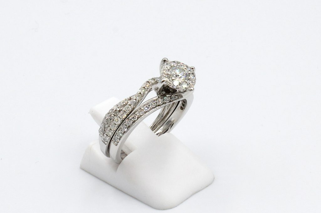 side view of two shaped diamond rings that fit perfectly together