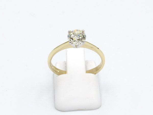 front view of a gold solitaire diamond ring