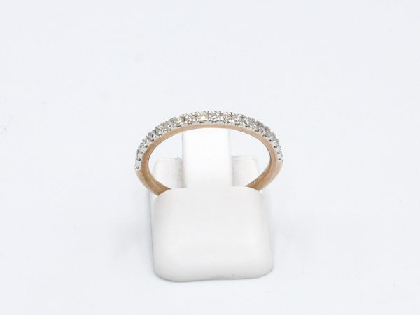 front view of rose gold and diamond eternity ring