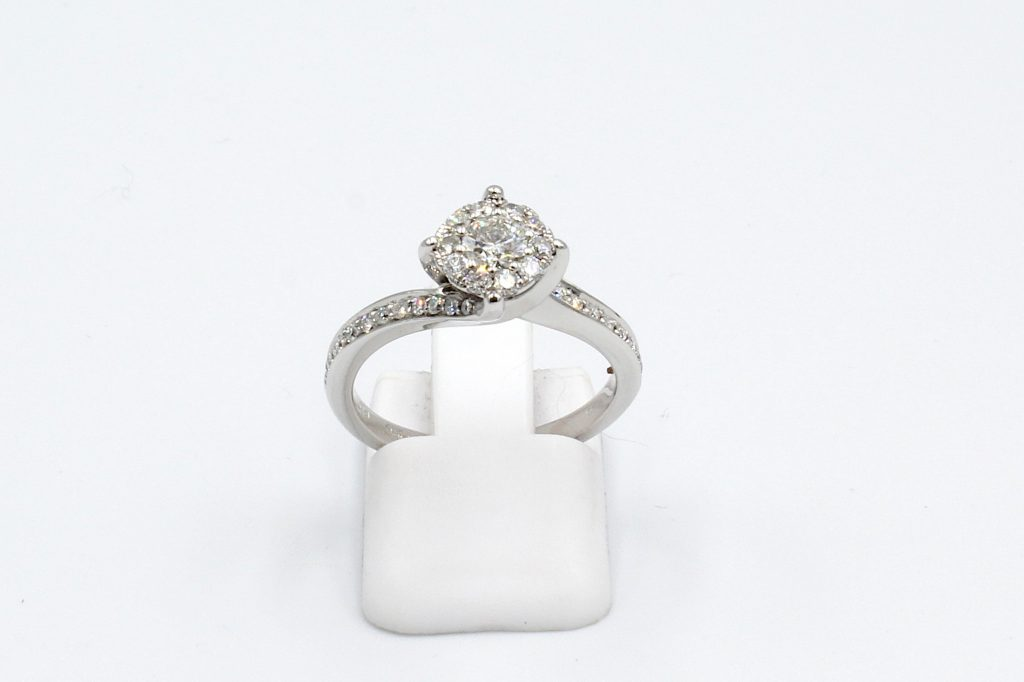 front view of a multi-diamond engagement ring