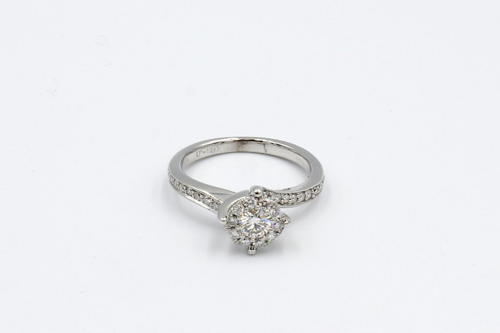 top view of a multi-diamond engagement ring