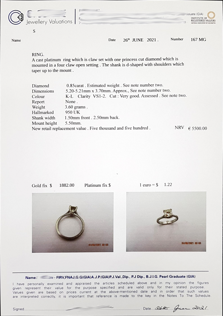 an engagement ring certificate