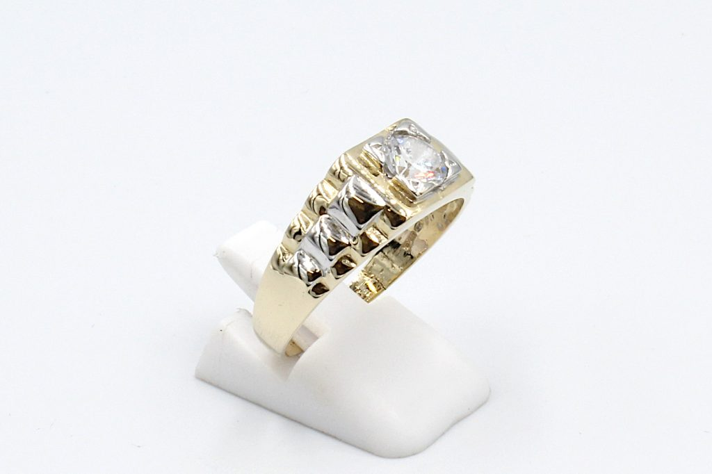 side view of a rolex style gold engagement ring for men