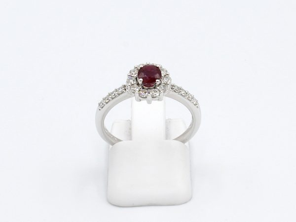 front view of a white gold ruby and diamond engagement ring