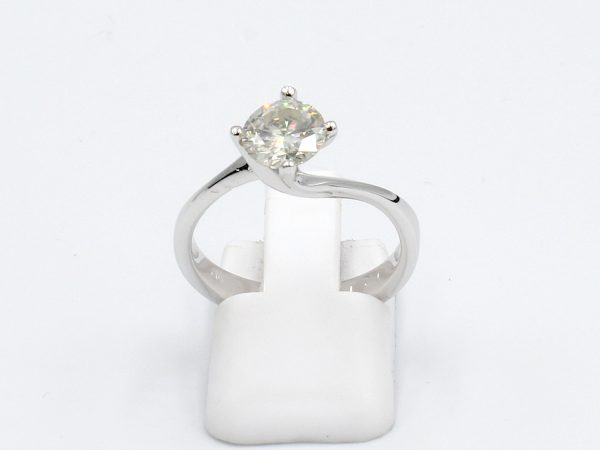 front view of a platinum solitaire diamond engagement ring -