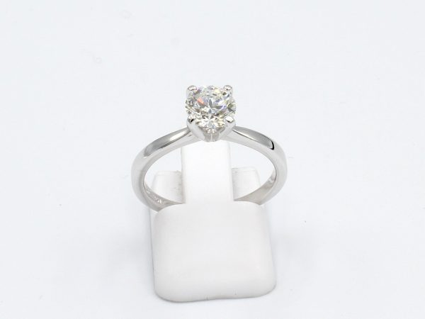 front view of a white gold diamond solitaire ring